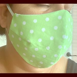 Green with white dots fabric face mask